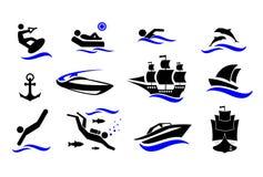sport konkurrensar som dyker pölsportar som simmar vatten Aktiv ferie vid havet Symbolsuppsättningen Vektorillustration som isole royaltyfri illustrationer