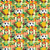 Sport kopiert mit Fußball-/Fußball-Symbolen Bunter Hintergrund Stockfoto