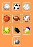 Sport-Kugel-Ikonen-Set Lizenzfreie Stockfotos