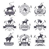 Sport labels for polo games. Monochrome silhouette of jockey and horse. Polo sport competition game illustration stock illustration