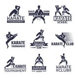 Sport labels set for fighting club. Karate and martial arts. Fighter athlete emblem, sportsman on badge. Vector illustration Stock Images