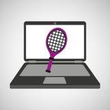 Sport laptop app concept racket Royalty Free Stock Image