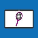 Sport laptop app concept racket Royalty Free Stock Photography