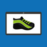 Sport laptop app concept sneaker run Royalty Free Stock Photo