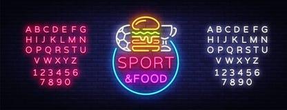 Sport-Lebensmittel-Leuchtreklame-Vektor Trägt Lebensmittellogo in der Neonart, helles Schild, helle Anschlagtafel, Nachtneon, Spo vektor abbildung