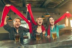 Sport, Leute, Freizeit, Freundschaft und Unterhaltungskonzept - glückliche Fußballfane oder Freundinnen, die Bier trinken und stockbild
