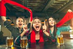 Sport, Leute, Freizeit, Freundschaft und Unterhaltungskonzept - glückliche Fußballfane oder Freundinnen, die Bier trinken und stockfoto