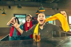 Sport, Leute, Freizeit, Freundschaft und Unterhaltungskonzept - glückliche Fußballfane oder Freundinnen, die Bier trinken und stockfotos