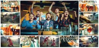 Sport, Leute, Freizeit, Freundschaft und Unterhaltungskonzept - glückliche Fußballfane oder männliche Freunde, die Bier trinken u Lizenzfreies Stockfoto