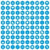 100 sport life icons set blue. 100 sport life icons set in blue hexagon isolated vector illustration Stock Image