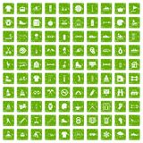 100 sport life icons set grunge green. 100 sport life icons set in grunge style green color isolated on white background vector illustration Royalty Free Stock Images