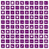 100 sport life icons set grunge purple. 100 sport life icons set in grunge style purple color isolated on white background vector illustration Stock Photography
