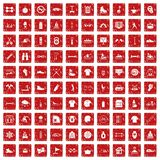 100 sport life icons set grunge red. 100 sport life icons set in grunge style red color isolated on white background vector illustration Royalty Free Stock Photography