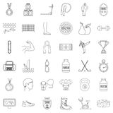 Sport life icons set, outline style. Sport life icons set. Outline style of 36 sport life vector icons for web isolated on white background Royalty Free Stock Images