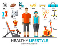 Sport life stile infographic with gym device, equipment and items. Training apparatus on a flat design style. Vector Royalty Free Stock Photos