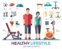 Sport life style infographic device equipment. Fitness icon concept Royalty Free Stock Images