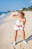 Sport and lifestyle concept - woman doing sports outdoors.  Royalty Free Stock Photo