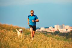 Sport lifestyle with dog. Royalty Free Stock Image