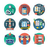 Sport lifestyle flat color icons set Royalty Free Stock Image