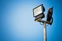 Sport light closeup. Sport light and blue sky closeup Royalty Free Stock Image