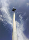 Sport light pole up view. Royalty Free Stock Image