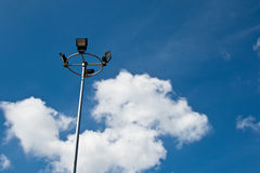 Sport light post on beautiful sky background Royalty Free Stock Photos