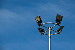 Sport light post on beautiful sky background Royalty Free Stock Images
