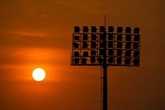 Sport light with sunset Royalty Free Stock Photo