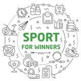 Sport Linear illustration slide stock illustration