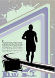 Sport lines design. With silhouette of running man Stock Images