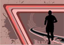 Sport lines design vector. With silhouette of running man Stock Photography