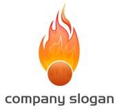 Sport logo. Detailed fire ball logo illustration Stock Photos