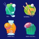 Sport logo of basketball and baseball, golf. And rugby. Flying balls with sport equipment like club and bat over pitch and field logos. May be used for sport Royalty Free Stock Images