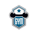 Sport logo for weightlifting gym and fitness club, retro style v Royalty Free Stock Photo