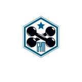 Sport logo for weightlifting gym and fitness club, retro style v Royalty Free Stock Photos
