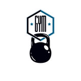 Sport logo for weightlifting gym and fitness club, retro stylize Royalty Free Stock Images