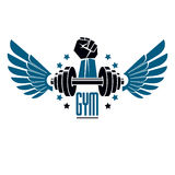 Sport logo for weightlifting gym and fitness club, vintage style Stock Images