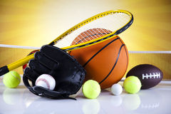 Sport, a lot of balls and stuff Stock Photos