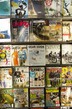 Sport magazines in store. Lots of sport magazines on a store shelve in Seattle Airport Stock Photos