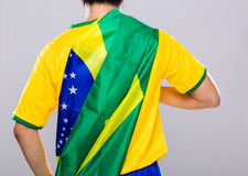 Sport man with Brazil flag Royalty Free Stock Photos