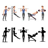 Sport man characters. Vector male fitness silhouettes. Isolated on white background illustration Royalty Free Stock Image