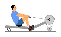 Sport man doing Seated Cable Row in gym  illustration. Low cable pulley row seated. Fitness instructor demonstration. Personal trainer exercise on simulator stock illustration