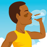 Sport Man Drinking Water. African American young runner sport man drinking bottled mineral water stock illustration