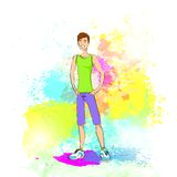 Sport man fitness trainer over colorful splash Royalty Free Stock Photo