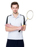 Sport man hold with badminton racket Royalty Free Stock Photography