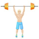 Sport man hold barbell bodybuilder athletic muscle Royalty Free Stock Image