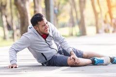 Sport man knee injury royalty free stock images