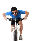 Sport man riding bike training hard on sprint in fitness and competition Stock Images