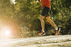 Sport man with ripped athletic and muscular legs running downhill off road in jogging training workout stock photo