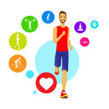 Sport Man Run Fitness App Tracker Icons Wearable Royalty Free Stock Images